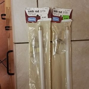 2 Sash Curtain Rods 28in-48in